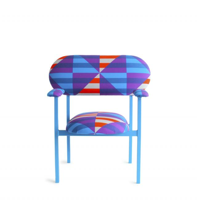re-imaginde chair with armrest - with David David 'French Riviera' fabric