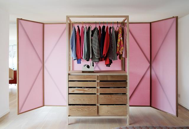 wardrobe partly opened up