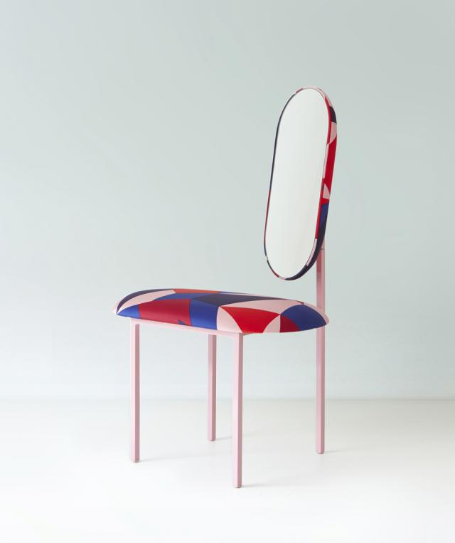 Re-imagined Wallpaper Handmade mirror chair with Marc Jacob's fabric