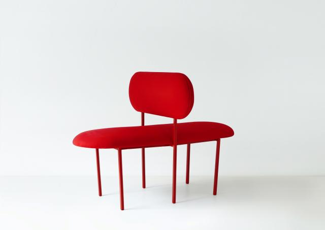 Re-imagined double sided chair - Marc Jacob's wood fabric