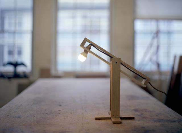 pallet lamp in workshop