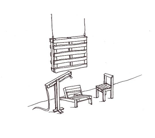 sketch of pallet installation at the Design Museum