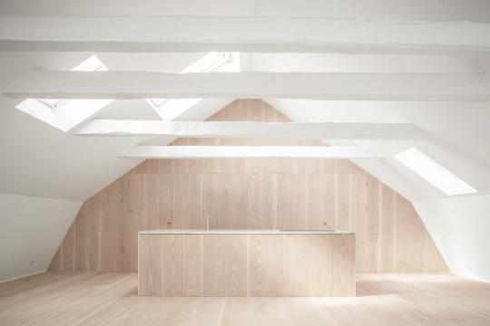 loft space with kitchen